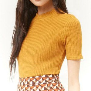 Forever 21 Yellow Mock Neck Waffle Knit Top - I